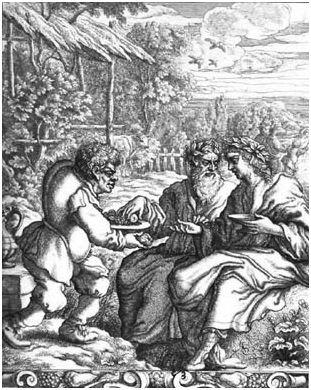 Esope offrant des fruits à ses maîtres